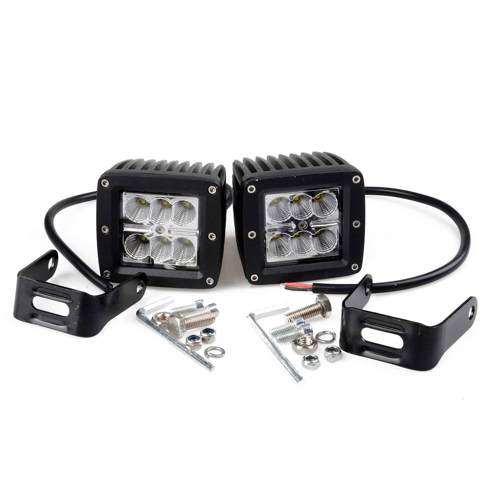 KAWELL® 2 Pack 18W Flood Light 1000 Lumens 3x3 LED Pods Marine RZR Ranger Polaris Pods for Work, Driving, Fog, Safety, 4x4, Atv, Car, Truck, 4wd, Suv, Tractor, Motorcycle, Boat, Quad, Utv, and Auxiliary Lighting