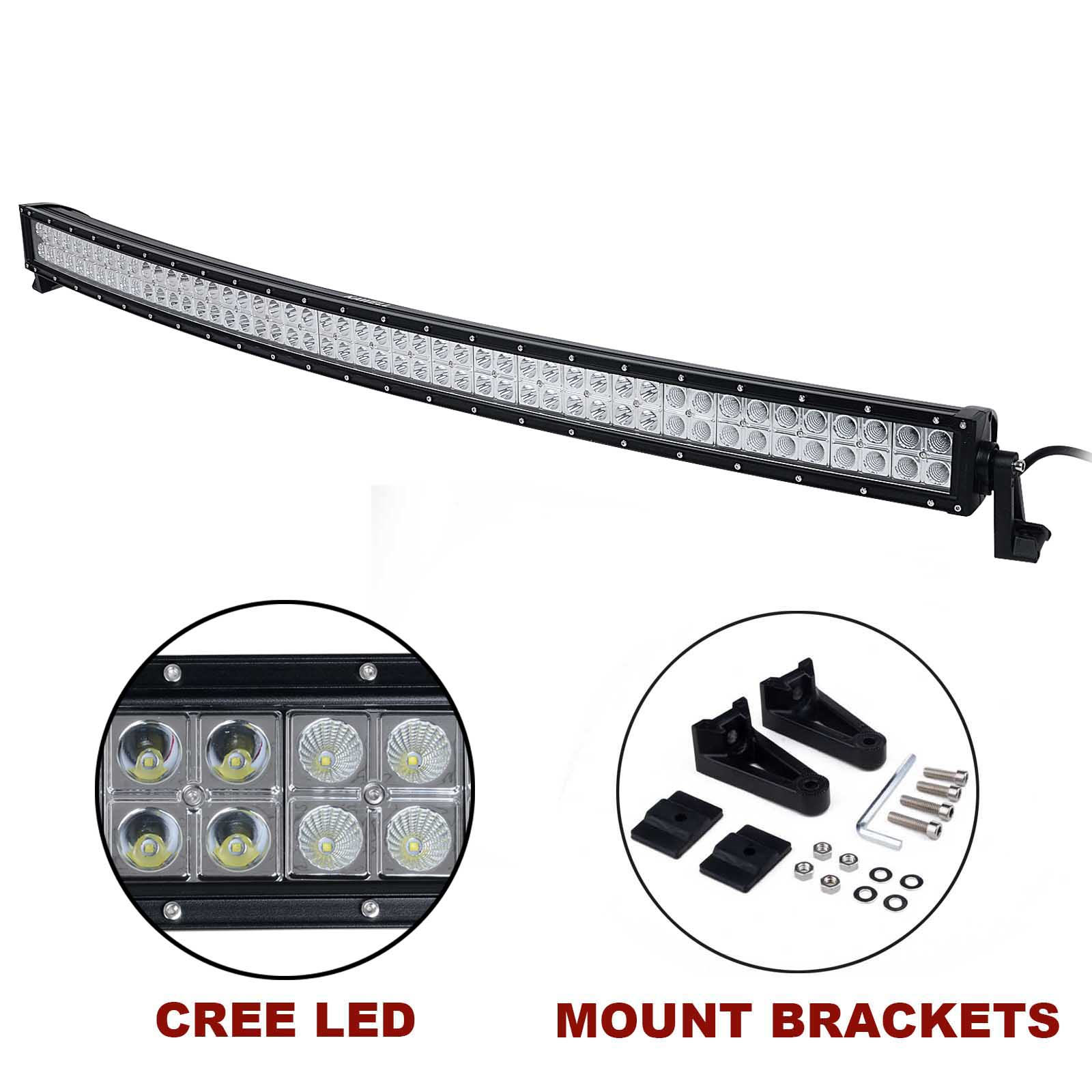 kawell u00ae 50 u0026quot  288w cree curved spot and flood combo beam led light bar off road led worklamp for