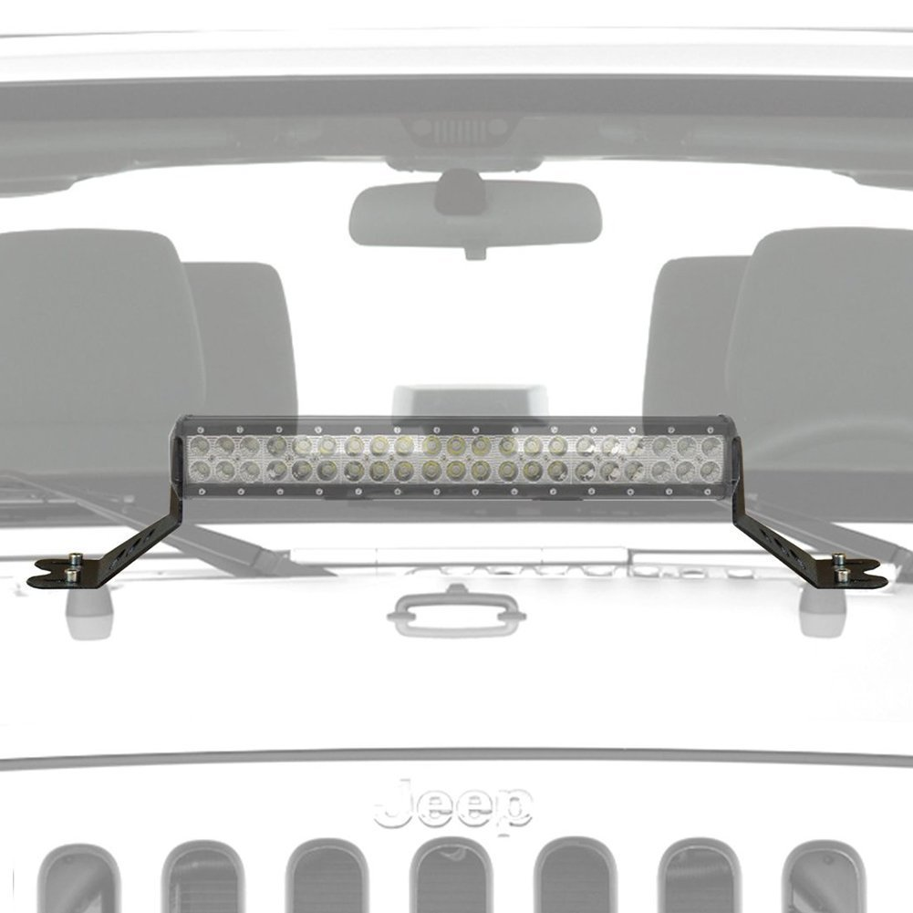 KAWELL Jeep Wrangler 2007-2013 JEEP JK Windshield Hood Mounts Bracket Kit for 24 inch LED Light Bar