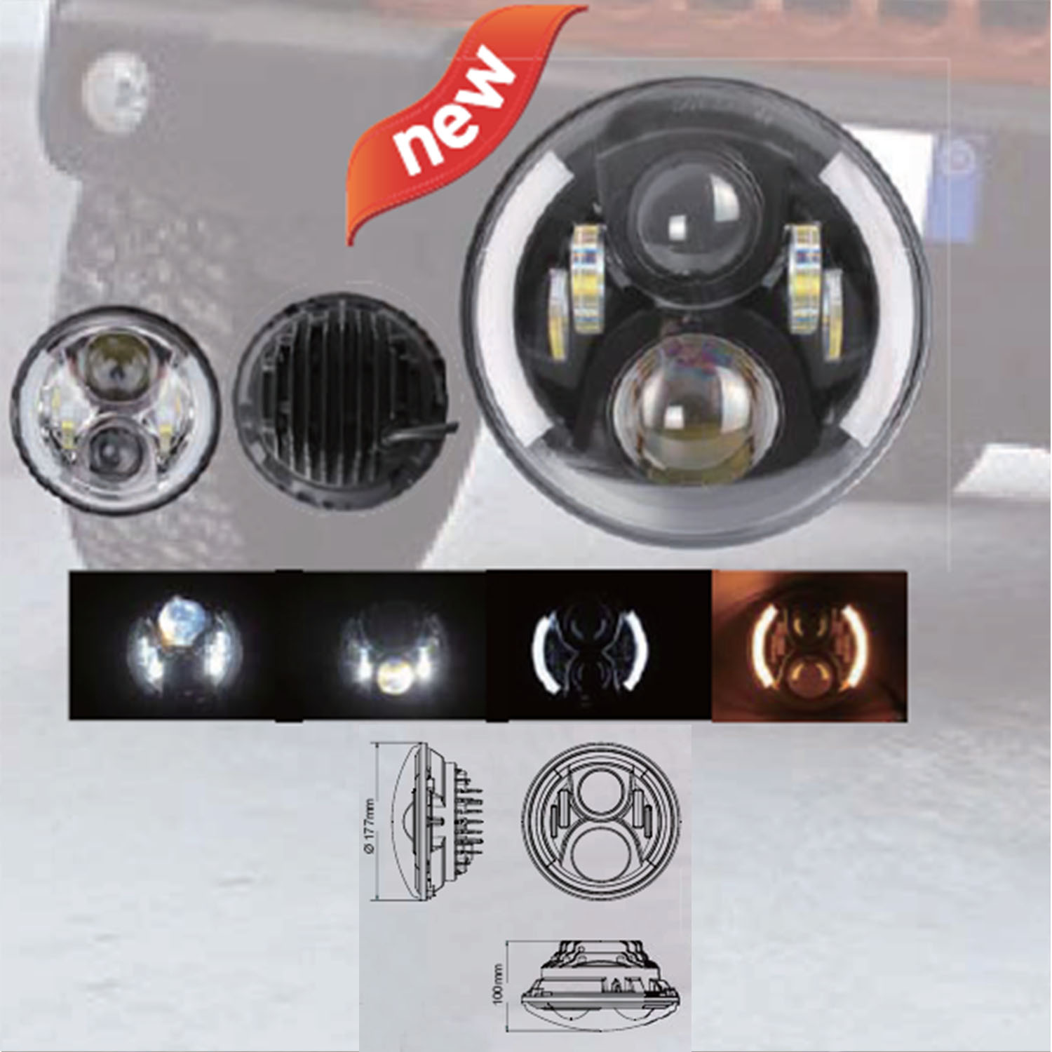 KAWELL 7 inch 70W CREE Round High Beam Low Beam LED Headlight For Jeep Wrangler with Angel Eyes and Daytime Running Light