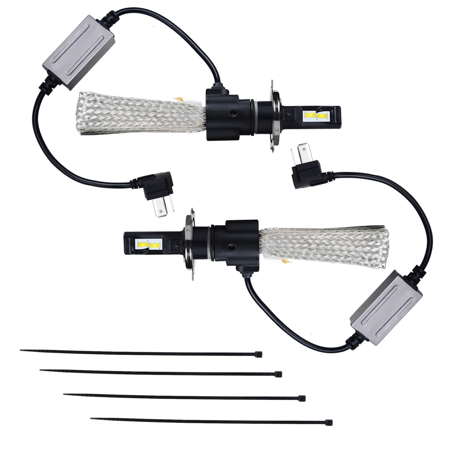 KAWELL LED Headlight Bulbs LED Headlight Conversion Kit - H4 Hi/Lo Beam - 40W*2 7,000LM 6500 Cool White OSRAM LED with Flexible Tinned Copper Braid- 2 Yr Warranty