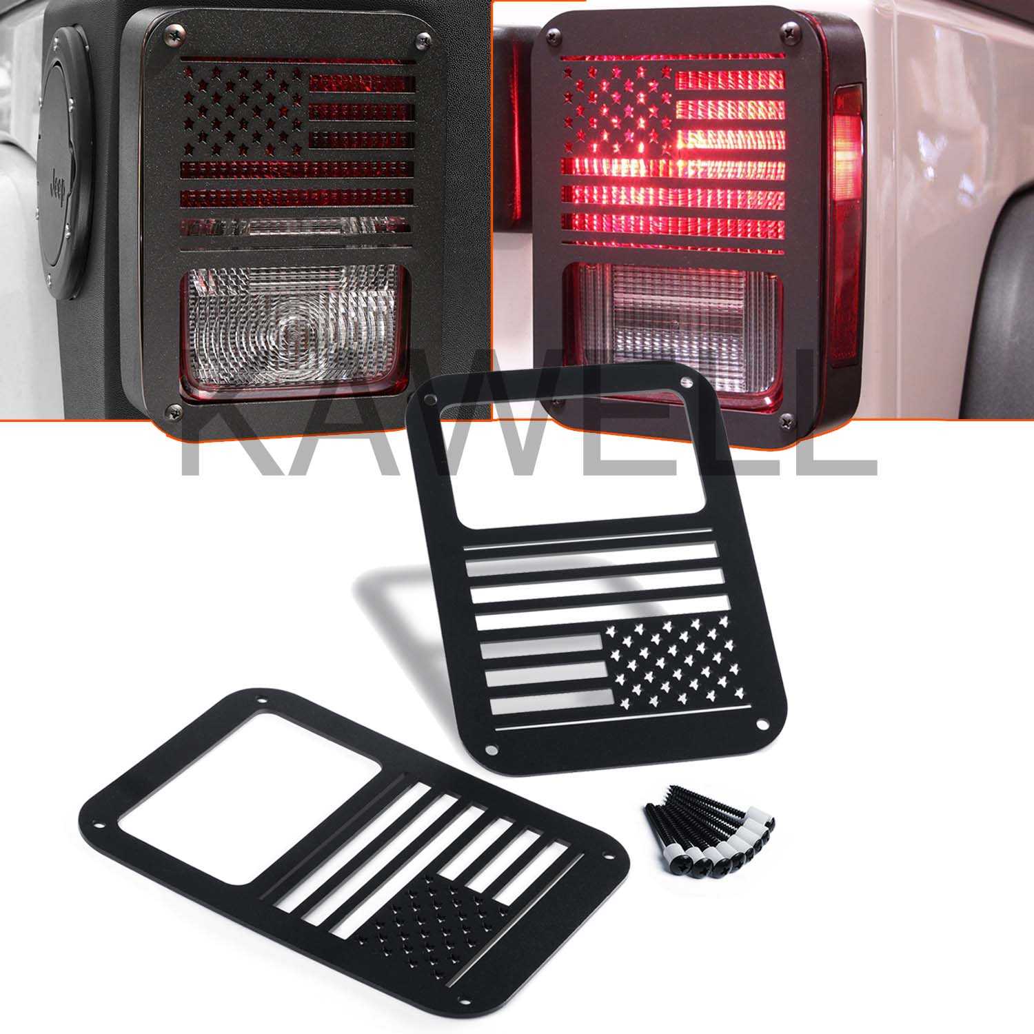 KAWELL 2 Pcs Rear Tail lamp Tail light Cover Trim Guards Protector for Jeep Wrangler Sport X Sahara Unlimited Rubicon 2007-2016 (USA Flag)