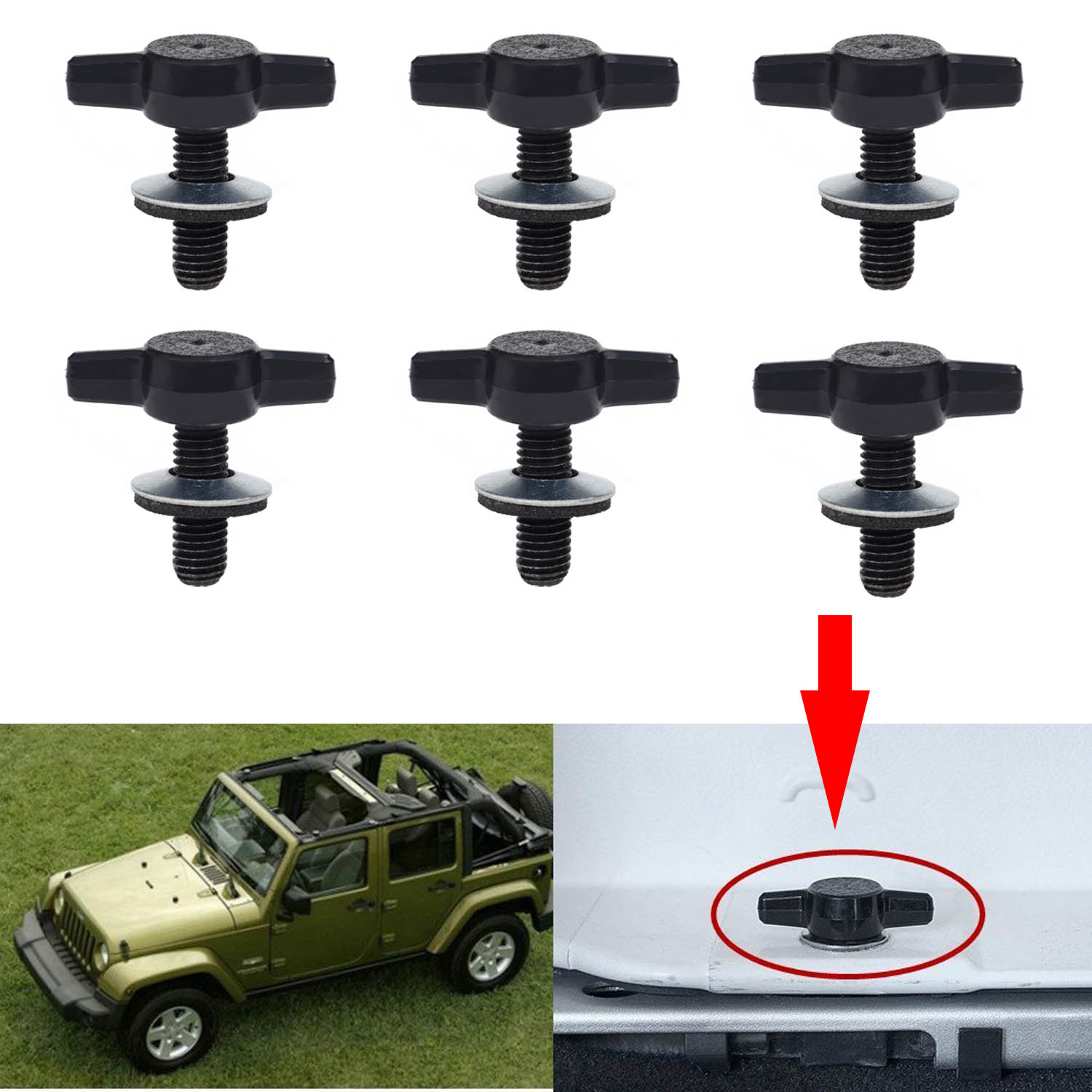 KAWELL Jeep Wrangler JK Hard Top Quick Removal Change Kit set of 6 Tee Knobs Fastener Thumb Screw and Nut Kit fits all 2007 thru 2016 Jeep Wrangler CJ YJ TJ JK Sport Sahara Rubicon Freedom ( Replace Torx Bolts )