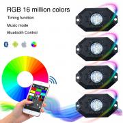 KAWELL CREE LED RGB Rock Light Kits Super Bright LED Work Lights Vehicle PODs Under Cars Trucks Interior and Exterior 4 Wheeler ATV SUV Jeep Mine Boat Motorcycle Waterproof Shockproof Neon Replacement ( 9W 630LM 6000K WHITE 4 Pack )