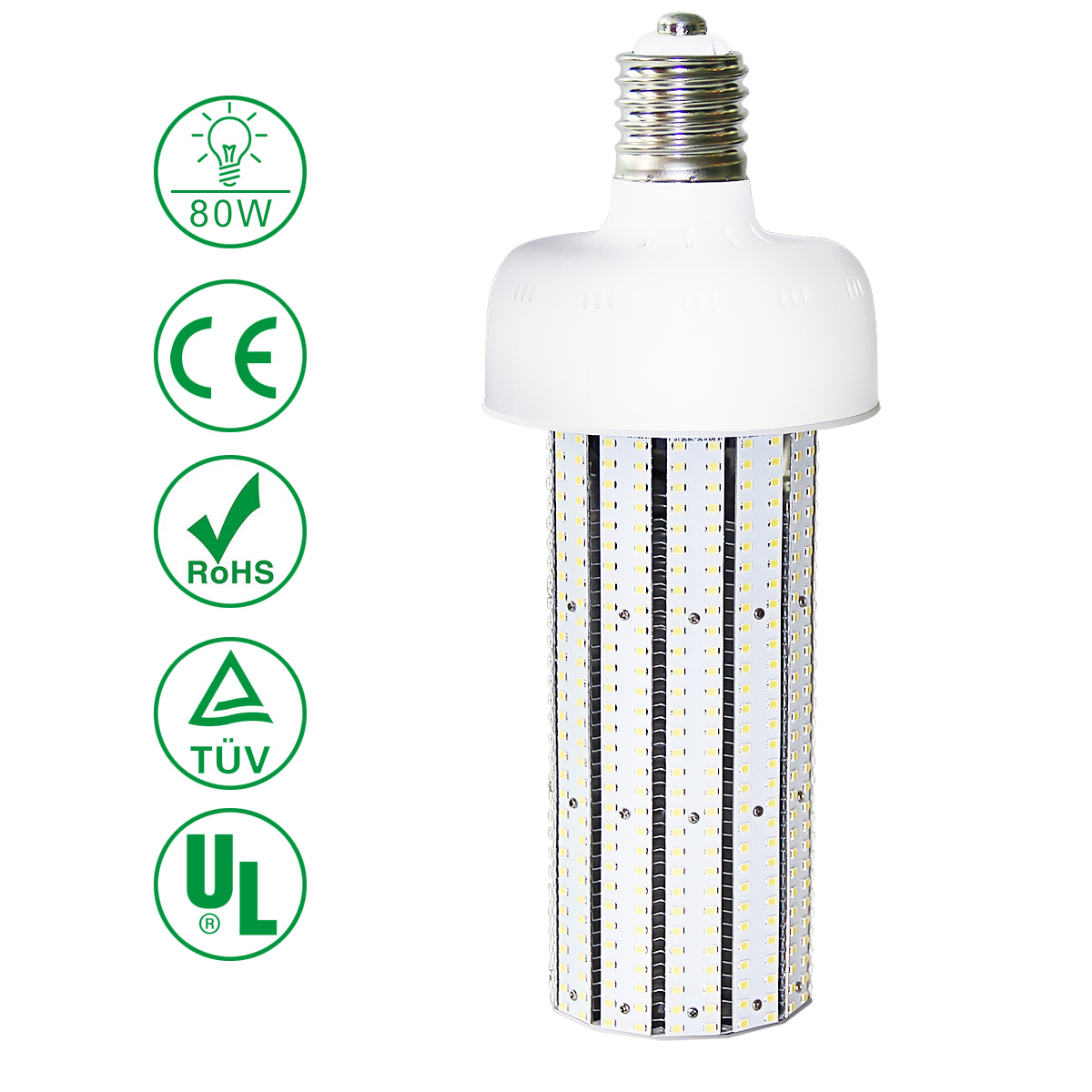 KAWELL 80W LED Corn Light Bulb, E39 Large Mogul Base LED Street and Area Light, for Fixtures HID/HPS/Metal Halide or CFL, 9600 lumen 5000K (Crystal White Glow) UL Listed TUV-Qualified DLC Certified