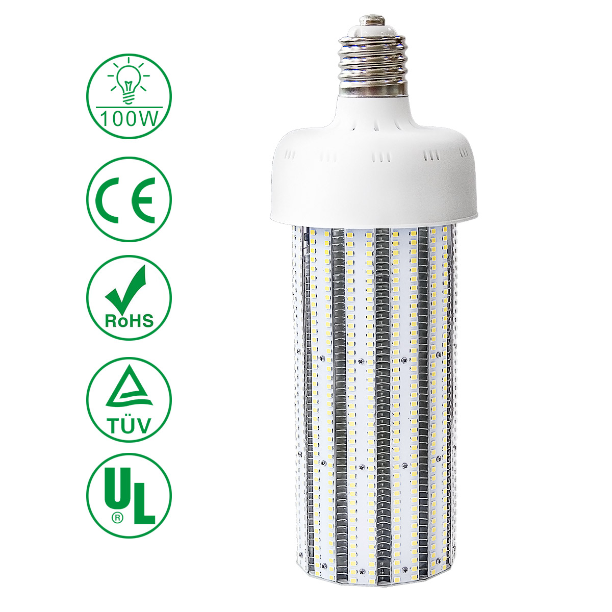 KAWELL 100W LED Corn Light Bulb, E39 Large Mogul Base Street/Area Light, for Fixtures HID/HPS/Metal Halide or CFL, 12000 lumen 6500K (Daylight) 360°Flood Light UL Listed/TUV-Qualified/DLC Certified