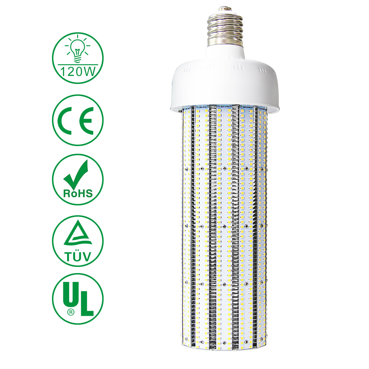 KAWELL 120W LED Corn Light Bulb E39 Large Mogul Base LED Street/Area Light Bulb for Fixtures HID/HPS/Metal Halide or CFL, 14400 lumen 5000K (Crystal White Glow) UL Listed TUV-Qualified DLC Certified
