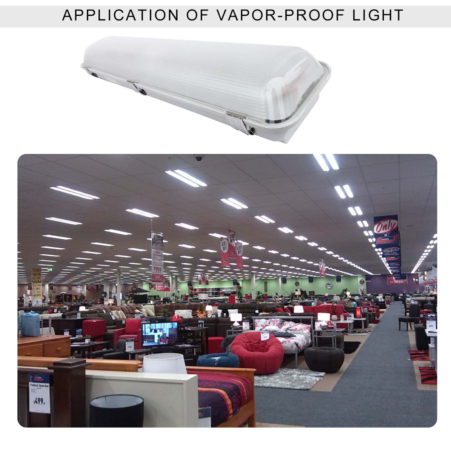 Kawell LED Vapor Tight 18W Waterproof IP65 100-277V 2 Ft.Super-Energy Saving Fluorescent Wet Location 3-Stage-Dimmable Fixture Fits 5 Warrenty White