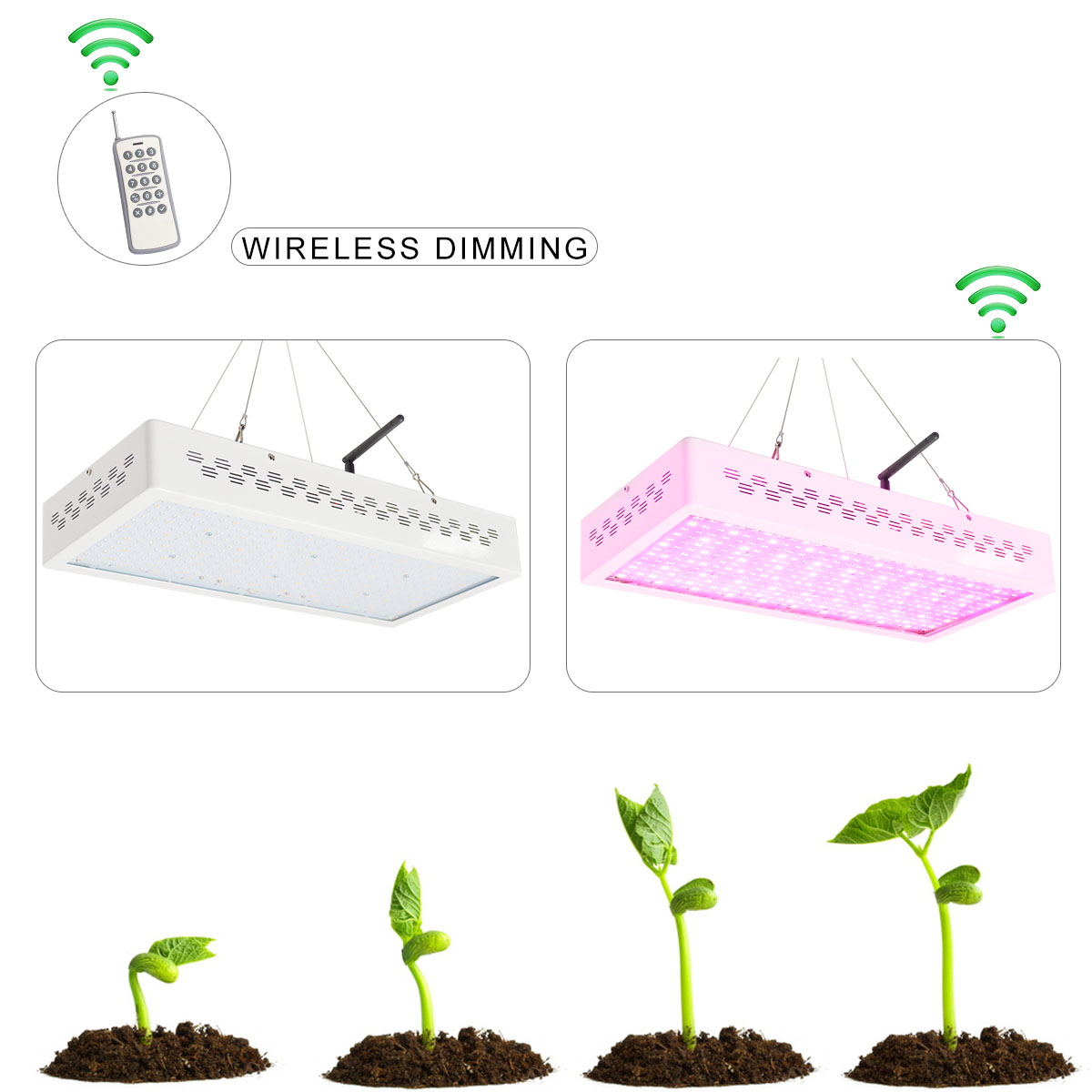 KAWELL 300W LED Grow Light 10800lm 600 TTL Plant Growth Bloom Wirelee Dimming Spectrum Light Plant Growing Bulbs for Hydroponic Indoor Garden Greenhouse Plants