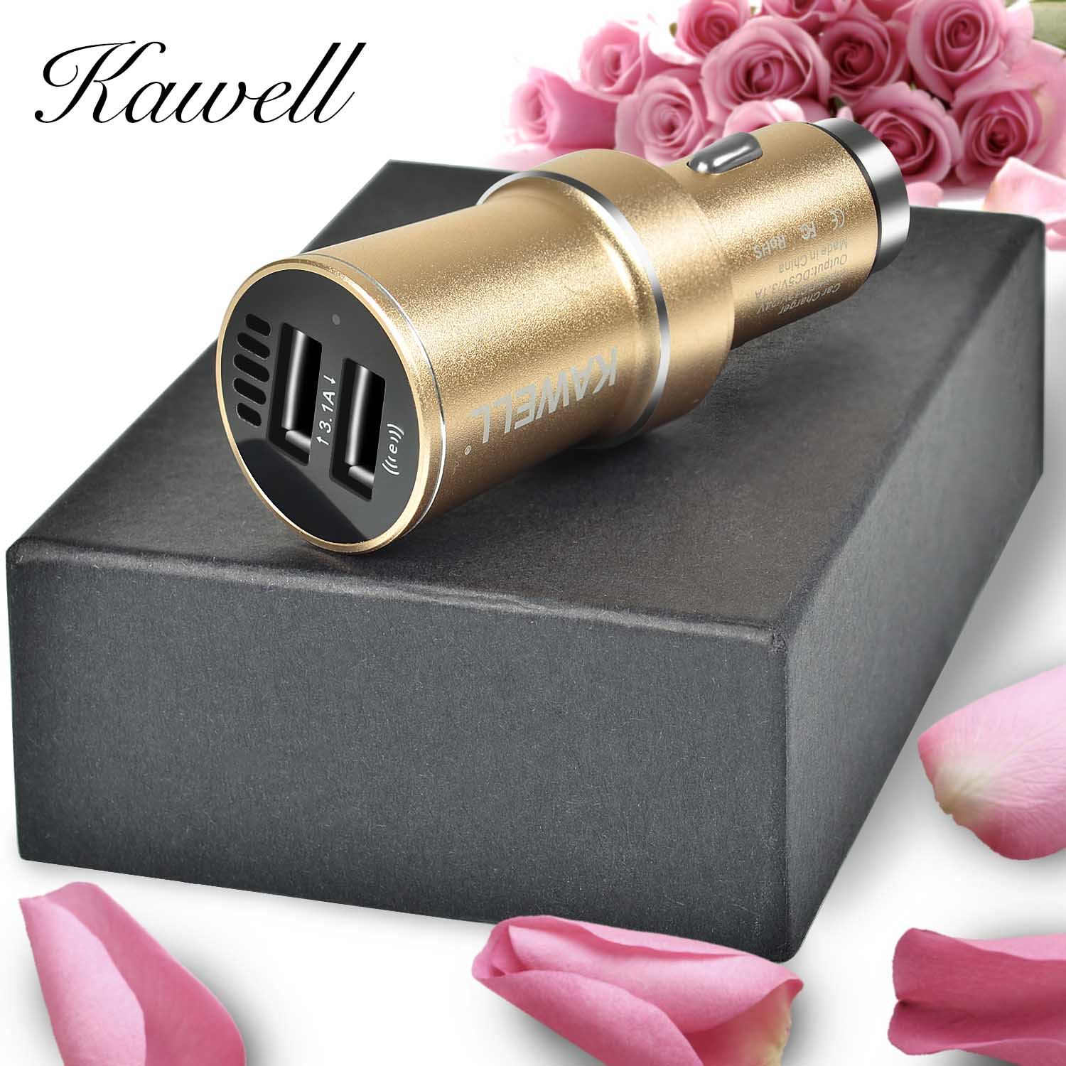 KAWELL Car Charger Cigarette Charger multi-function Dual Port USB with Air purification and Emergency harmmer function (Rose Gold)