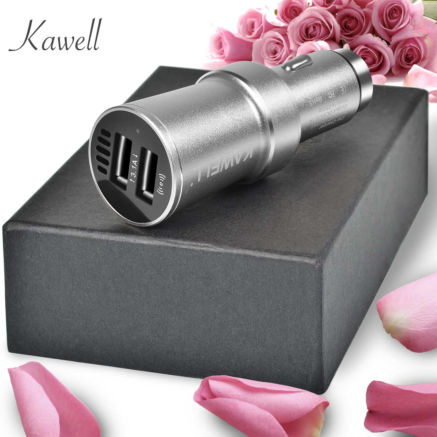 KAWELL USB Car Charger multi-function Dual Port Cigarette Charger with Air purification and Emergency harmmer function (Silver)