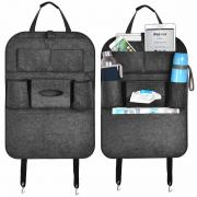 KAWELL Felt Cloth Car Seat Storage Bag Auto Front or Back Seat Organizer Holder Multi-Pocket Travel Storage Bag Black Color