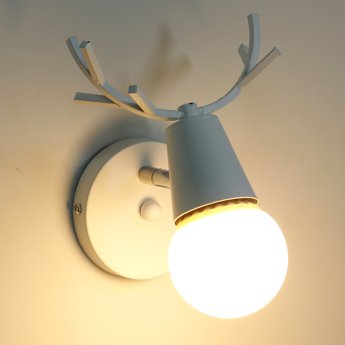 KAWELL Creative Wall Light Modern Wall Lamp Simple Wall Scone Iron E27 Base Deer Head Nordic Style Art Deco for Bedroom, Living Room, Children's Room, Restaurant, Hallway, Stairs, White