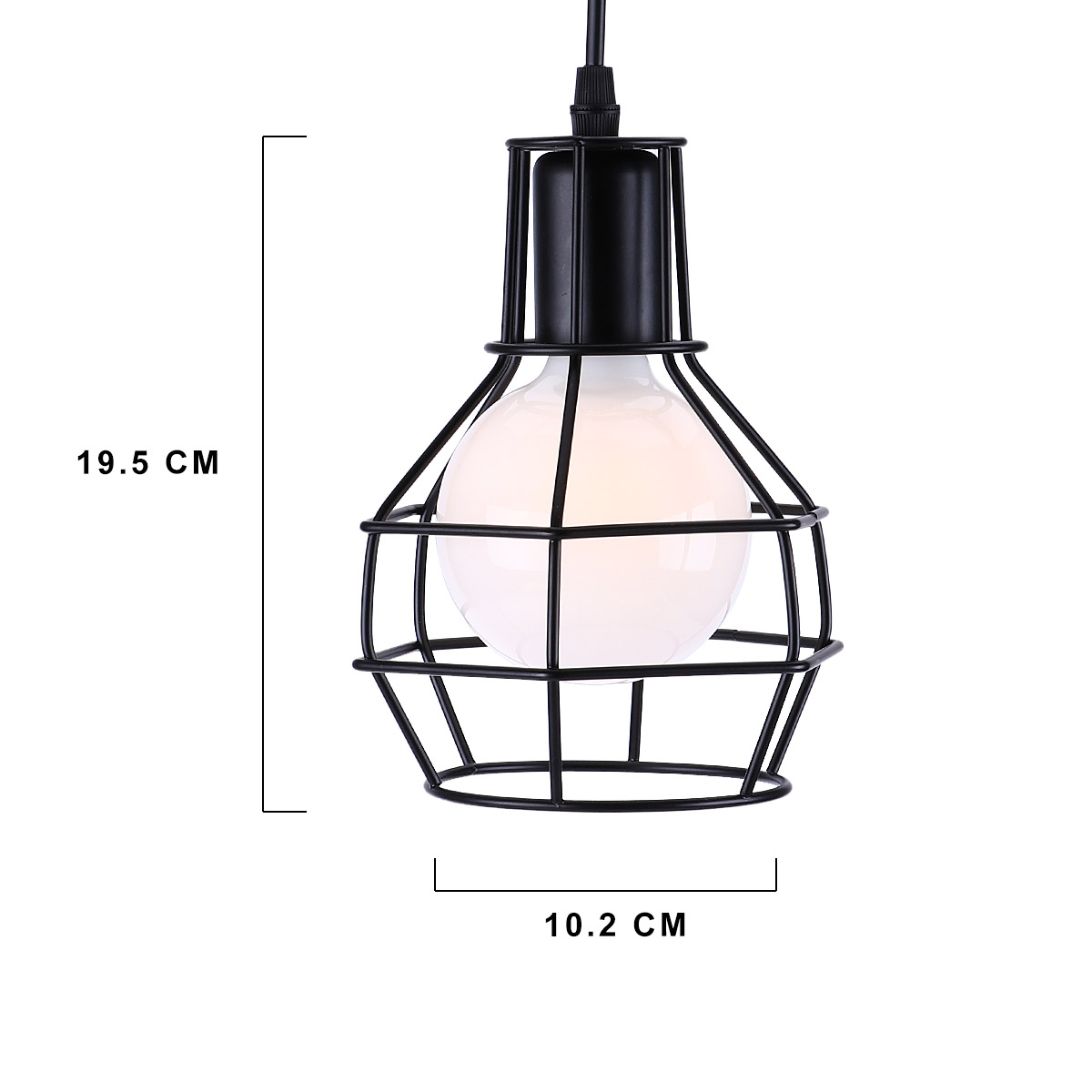 KAWELL Creative Vintage Pendant Light Industrial Retro Chandelier E27 Base Iron Cage Lampshade for Cafe, Restaurant, Study, Kitchen, Loft, Bar, Bedroom, Black