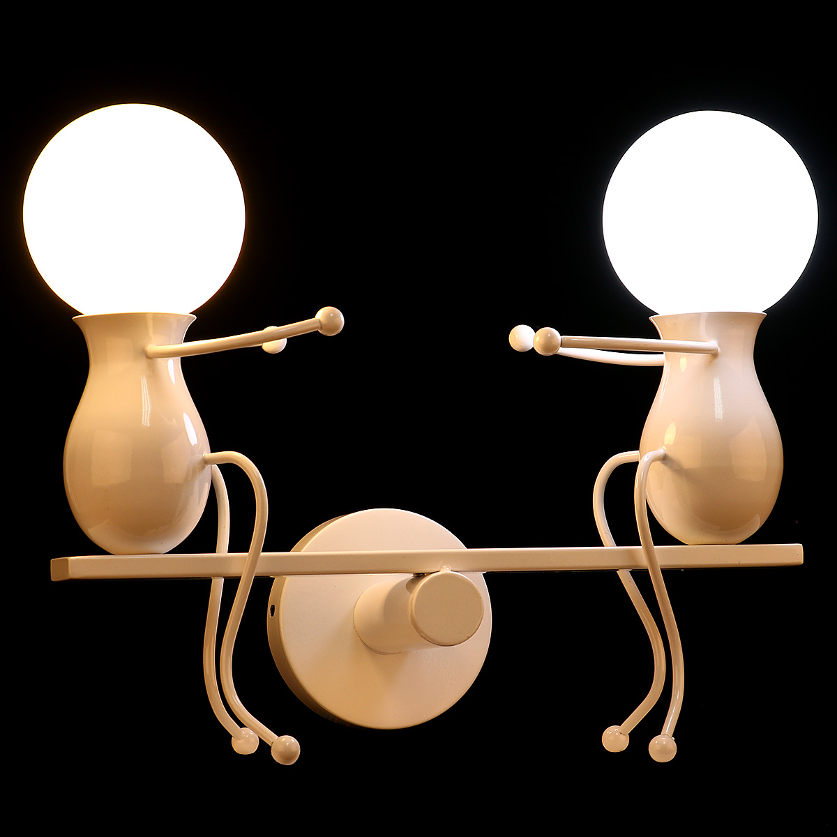 KAWELL Humanoid Creative Wall Light Modern Wall Lamp Simple Wall Sconce Art Deco Max 60W E27 Base Iron Holder for Children Room, Bedroom Bedside, Stairs, Hallway, Restaurant, Kitchen, White