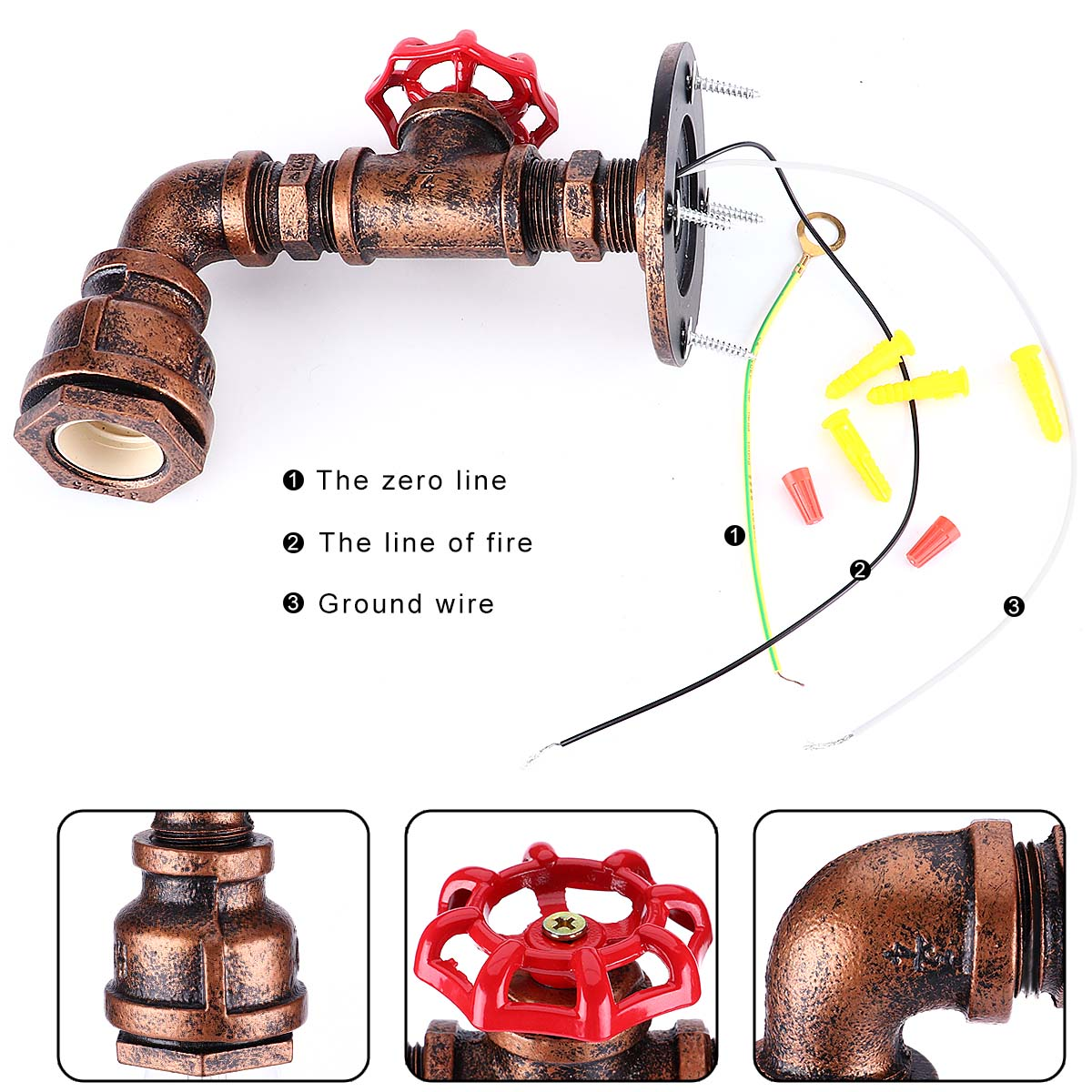 Kawell Vintage Wall Lamp Industrial Retro Light Creative Water Sconce Wiring Diagram Pipe Iron Metal E27